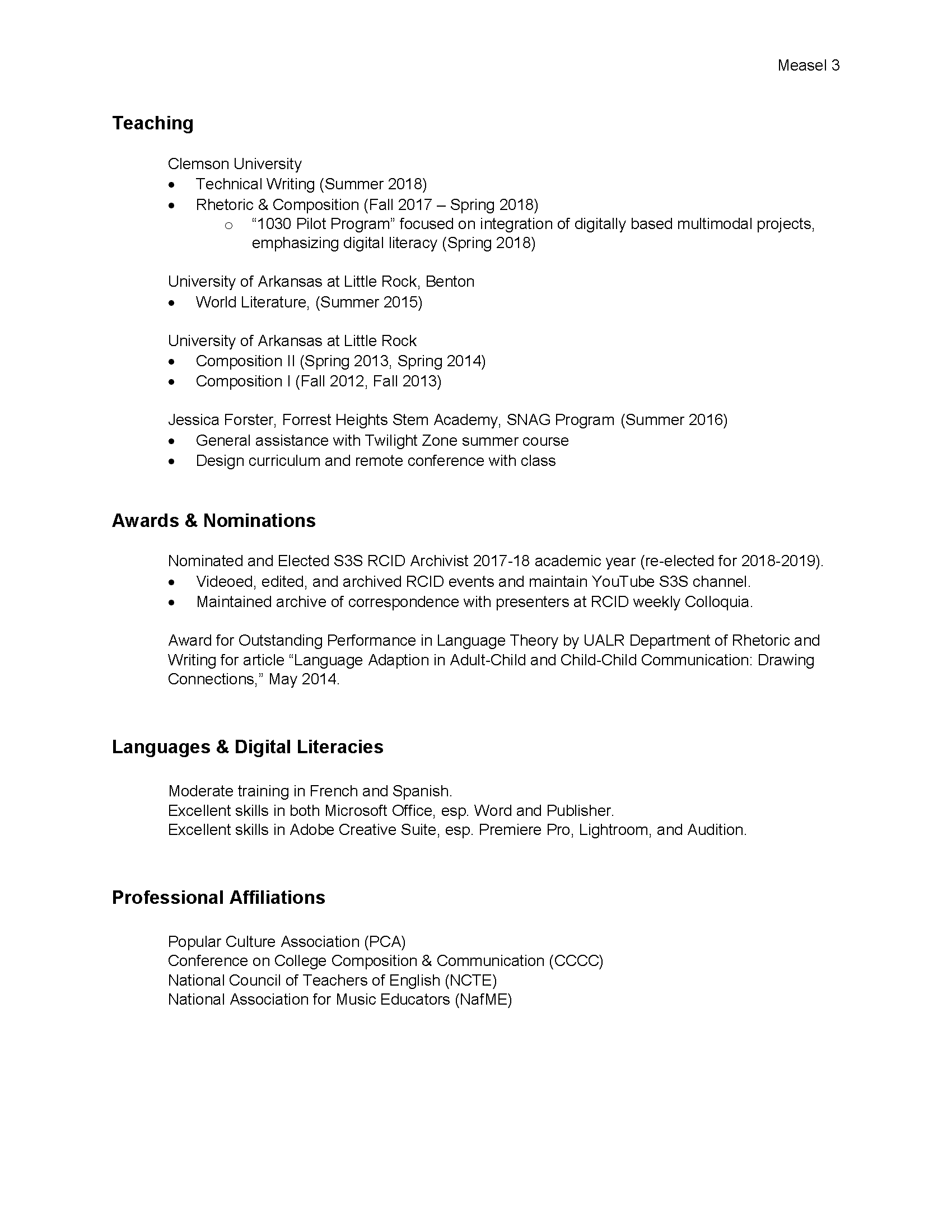 Curriculum Vitae Michael David Measel